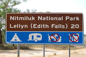 Nitmiluk National Park and Edith Falls road sign  |  Credit RAB