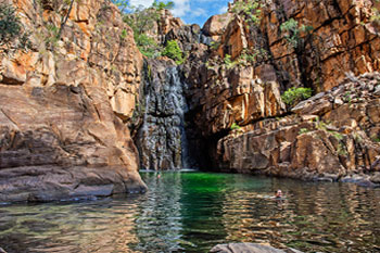 Southern Rockhole is a seasonally flowing waterfall in Nitmiluk National Park |Southern Rockhole is located on the Windolf bush walking track  |  Credits Parks Australia