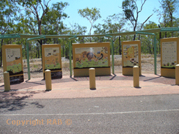 Information Stands at Kakadu entrance walls on the Arnhem Highway entrance into Kakadu National Park | Credits RAB