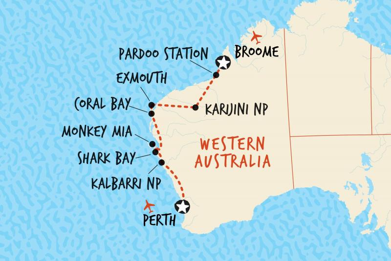 Map of Perth to Broome | If you think this trip is too much for you and a self drive then look at Australia 4  Tours .com option Map credit Adventure Tours Australia