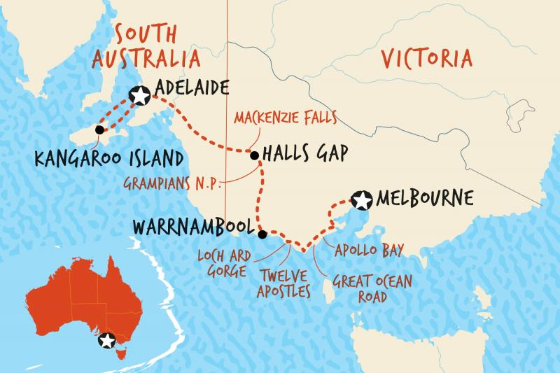 Map of Melbourne to Adelaide | If you think this trip is too much for you and a self drive then look at Australia 4  Tours .com option Map credit Adventure Tours Australia