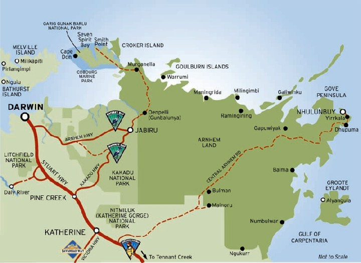 Map of Kakadu and Arnhem Land | Credits NTTC, TourismTopEnd and Parks Australia