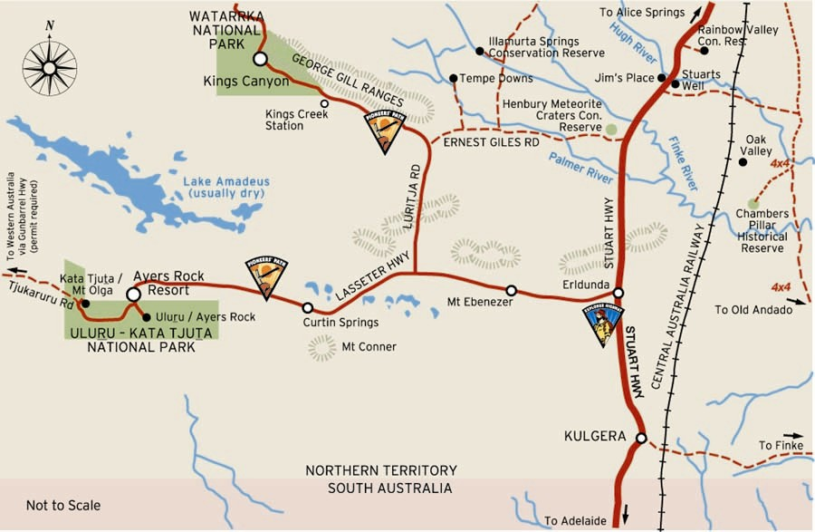 Map of Lasseter Highway to Uluru, and Luritja Road to Kings Canyon from Alice Springs all sealed road for your motorhome hire road trip | Credits NTTC
