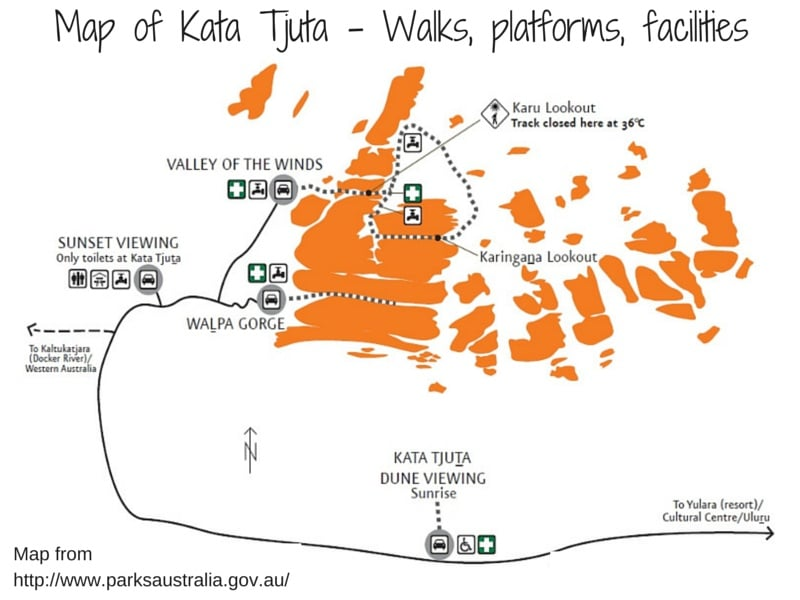 Kata Tjuta tthe olgas map and walks | Credit Parks Australia